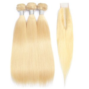 613 Blonde Bundles With 2x6 Closure Deep Part Malaysian Remy Straight Hair Bundles With Closure Human Hair Bundles With Closure