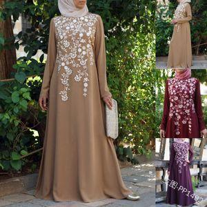 Musulmán Abaya Vestido Maxi Vestido Ramadán Árabe Ropa Islámica Floral Impreso Vintage Kaftan Vestidos Maxi Islámicos Tallas grandes Mujeres