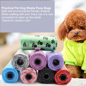 Pet Dog Waste Poop Bag Dispenser Garbage Trash Bags Cat Doggy Poo Collection Bags 15pcs roll