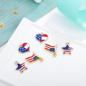 16 mm de la bandera americana colgante en forma de corazón descenso del aceite del encanto de la aleación hecha a mano de metal pequeño colgante en forma de corazón colorido esmalte LJJP07