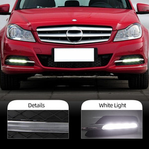 2PCS DRL For Mercedes Benz W204 C200 C260 C300 C CLASS 2011 2012 2013 Daytime Running Lights Fog head Lamp cover