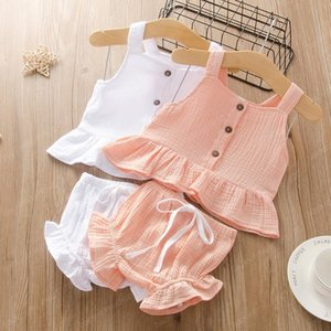 kids designer clothes girls outfits children Sling Tops+ruffle shorts 2pcs set 2020 summer Boutique baby Solid color Clothing Sets