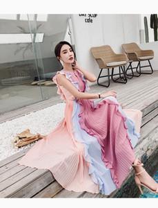 2019 Yeni Yaz Pist Tasarımcısı Pileli Uzun Elbise kadın Kolsuz Lüks Gökkuşağı Colorfull Patchwork Ruffles Şifon Maxi Elbise
