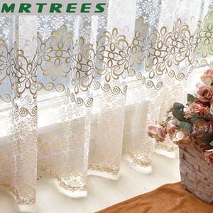 Living Room Mutfak Voile Şeffaf Fransız Perdeler üzerinde için Çiçek Modern Yatak Odası Şeffaf Perde Tül Perdeler Perde
