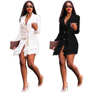 Women Designer Coat Fashion Slim Double Breasted Lapel Neck Defined Suit Coats with Tassel Women Coat