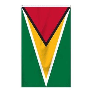 Bandeira de Guyana 3x5, National 90% sangramento 68D Serigrafia, guarda todos os países, a partir fabricante profissional de bandeiras e faixas