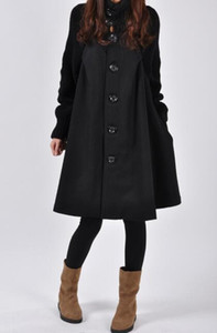 Damen High Neck lange Rock-Mantel-Winter-Wolle-Mischungen Oberbekleidung Damenmode lose Tops Frau Jacken Mäntel S-5XL Plus Size