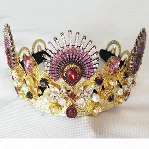 Luxurious Sparkling Gold Crystal Baroque Queen Wedding Tiara Crown Pageant Prom Diadem Headpiece Bridal Hair Jewelry accessorie C18122801