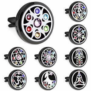 Chakra mano afortunada yoga 30mm Color negro Difusor de coche Locket Vent Clip de ambientador de aire Aceite esencial Aromaterapia Perfume Locket 10pcs Almohadillas