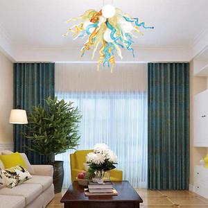 Moderna Aqua Blue Shades calda luce Led Chandelier e della mano Stile Pendant Light di Murano in vetro soffiato Lampadario Piccolo Illuminazione Soggiorno Lampada