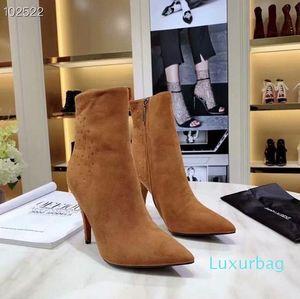 Hot Vente- Bottines Designer Haut Bottines en cuir véritable Monogram lanières croisées Pointu Toes dames Bottes street style fashion0812
