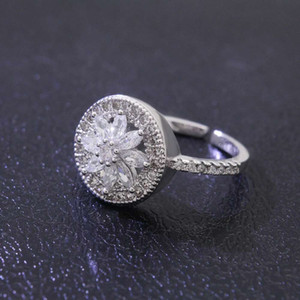 Wholesale-ring with side stones for women luxury diamond crystal rings s925 silver plated copper jewelry gift for gf wife free shipping