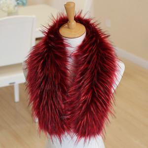 Faux fox bufanda de piel de mujer de invierno de gran tamaño cuello de piel bufandas mullido abrigo cuello cuello cálido abrigo para damas color del arco iris
