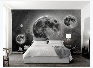 Özelleştirilmiş 3D Photo Sanat Mural Duvar kağıdı siyah beyaz evren gezegen dekorasyon duvar KTV Yatak odası arka plan duvar kağıdı