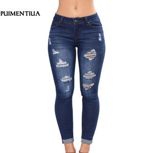 Puimentiua Nouveau Femmes Slim taille haute Casual Denim Jeans Plus Size Stretch Jeans Femme rippés Zipper Pantalon Skinny Crayon