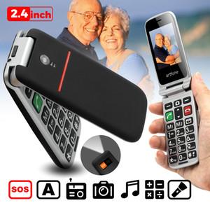 Флип старший сотовый телефон хороший старый телефон большая кнопка легко большая батарея громкоговоритель SOS боковая кнопка двойной Sim-карты
