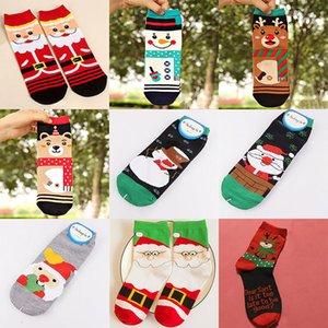 Coton De Noël Coton Pour Père Noël Elk Cerf Bonhomme De Neige Ours Femmes 3D chaussettes d'impression Cadeau De Noël Décorations HH7-1922