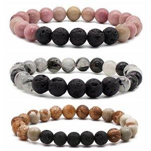 Pulseiras Natural Preto Hematita Rose Quartz Lava pedra Gemstone Bracelet por Mulheres Homens