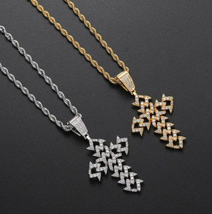hip hop Diamond shaped Cuban Cross Pendant for men women mens pendants gold silver chain necklace jewelry gift
