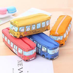 Симпатичные школьный автобус Пенал Канцелярский мешок большой емкости Холст Косметический макияж сумка холст автомобиль карандаш сумка оранжевый красный желтый синий