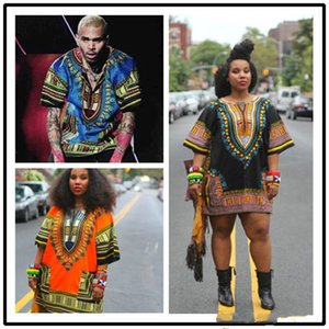 2019 Afrika dashiki Elbiseler için Kadın Erkek Afrika Giyim hippi Gömlek Kaftan Vintage Unisex Tribal Meksika Üst Bazin Riche Etnik Giyim