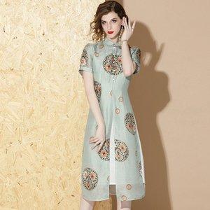 2020 estate Hot Line Qipao donne del vestito elegante di alta qualità manica corta moderna migliorata Stampa Cheongsam Dress