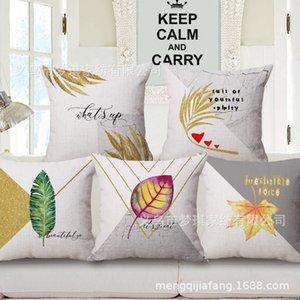Meng Qi Textiles para el hogar Hoja Norte de Europa Viento Concisa Geometría Abrazo Funda de almohada Cojín de algodón Juego