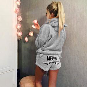 Pijamas Mulher Femme Lingeries Outono Mulheres 2pcs Pajama Define Suit Luva longa dos desenhos animados de animais de veludo Shorts da forma das mulheres sleepwear