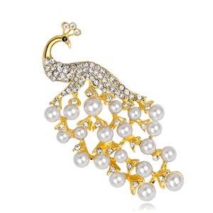 Peacock Brooches gros pour femmes Mode cristal imitation perles Broches animaux paon Hijab Pins Broche Pins Freeshipping