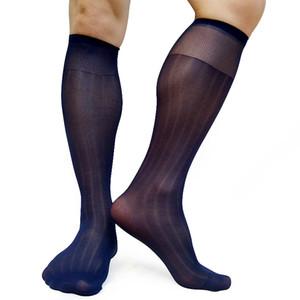 Men Nylon Sheer Socks High Elastic Striped See Through Sexy Tube Sox Formal Dress Suit Socks Hose Stocking Gentlemen Socks