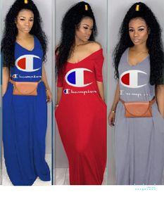 Designer verão vestido longo luxo Campeão da marca Maxi Vestidos comprimento da saia sem alças T-shirt do partido Fashion Dress vestido Mulheres Roupa E32608