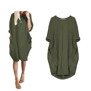 5XL Plus Size vestidos de Outono mulheres bolso soltas Vestido das senhoras do pescoço de grupo Casual Longo menina Tops vestido moda feminina grande vestido