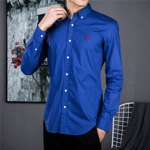 FFMen de polo de la camisa de lujo Pony Marcos de negocios ocasional de la camisa delgada de algodón del diseño de marca de color sólido camisa bordado potro marca camisas de manga larga