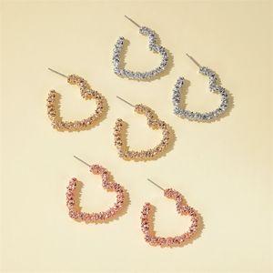 Simple collection Hoop Métal Love Heart Boucles d'oreilles pour les femmes unique forme d'étoile à six pans Hoops Accessoires Bijoux