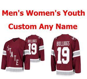 NCAA штат Миссисипи бульдоги колледж лед хоккей МУЖСКОГО ЖЕНСКАЯ Молодежь Дети Maroon прошитый Пользовательский Любое Имя Любого номер