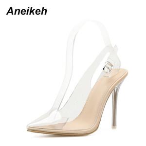 Aneikeh Mulheres Sandálias PVC Apontou Toe Limpar Transparente de Salto Alto Bombas Estiletes 2018 Sapatos de Casamento Vestido de Verão Slingback