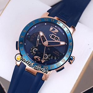 جديد التنفيذ التنفيذي El Toro / Black Toro Perpetual Calendar GMT 326-00-3 / BQ Rose Gold Blue Detail Mens Watch Blue Rubber Strap Watches Hello_Watch