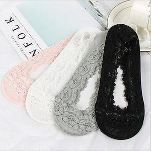 2019 Femmes Low Cut Lace Chaussettes antidérapante silicone cheville Chaussons antidérapage Liner