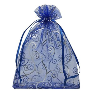 100pcs 4x6 Inches Drawstrings Organza Gift Candy Bags Wedding Favors Bags (Navy Blue with Silver)