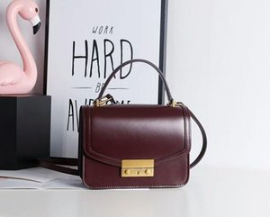 Individual2019 Woman Bag 218 Xia Zhenpi Small Square Concise Lock Catch Two Layer Cowhide Single Shoulder Package Oblique Satchel