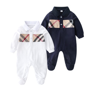 التجزئة عالية الجودة طية صدر السترة رومبير حللا الكرتون القطن فتاة حديثي الولادة طفل ملابس نوم للأطفال الرضع