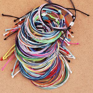 22 estilos hechos a mano de cera Hilo de la pulsera de múltiples capas de tejido de pulseras de la amistad ajustable trenzada brazalete de regalo de las mujeres multicolor