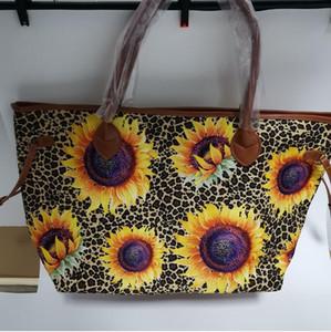 Leopard Serape de tournesol en gros Blanks sac fourre-tout en toile de tournesol Tie Dye avec poignée en cuir Faux Sac bandoulière femme Sac Weekend