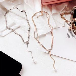 전체 다이아몬드 스타 쇄골 체인 여성의 짧은 진주 목걸이 펜 던 트 간단한 장식품 목 chocke 무료배송