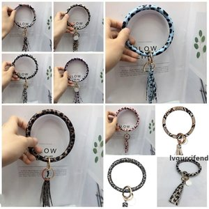 20 style Tassel Bracelets For Key Round Circle Wristlet PU Leather Women Bangle Unique Jewelry Wristlet Key Holder Party FavorT2C5204