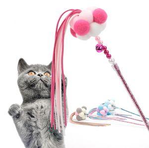 palo divertido gato gato de juguete Hada linda íntima formación artefacto interactivo borla bola de pelo Diseño colorido del animal doméstico con varilla divertido gato campana