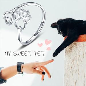 Bellezza Hollow Paw Print 925 Sterling Silver Ring Aperto monili registrabili dell'anello animali creativo Trafitto Love Dog Cat Claw Anello
