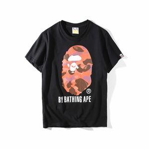 Bape의 스타일리스트 남성 T 셔츠 남성 여성 높은 품질 반팔 럭셔리 Copule 원숭이 인쇄 티 크기 M-2XL