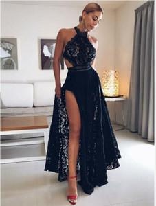 2019 Черное кружево Сексуальное платье с высоким воротом для выпускного вечера Черные платья для выпускного вечера Длинные расколотые вечерние платья Вечернее платье Юсеф