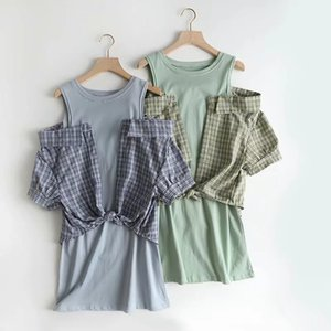LxW-250 KADIN Elbise Yeni Ürünler Ekose Mock İki Parça Elbise